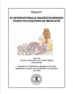 63 Internationale waarschuwingen tegen psychiatrische medicatie