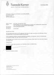 reactie commissie OCW Minister OCW brief 13 juli 2014